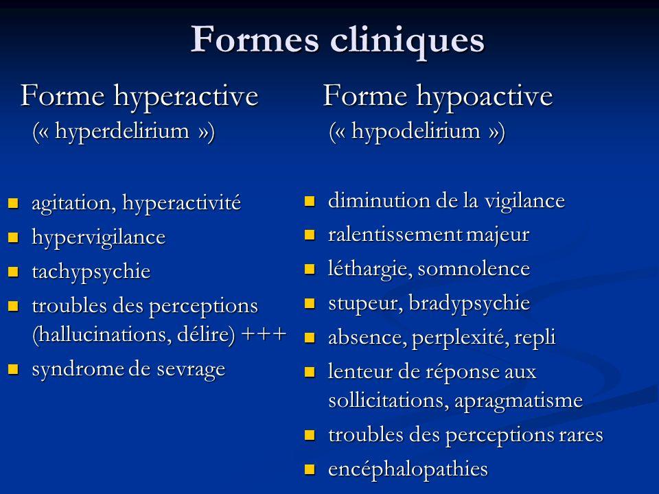 Formes cliniques Forme hyperactive (« hyperdelirium »)