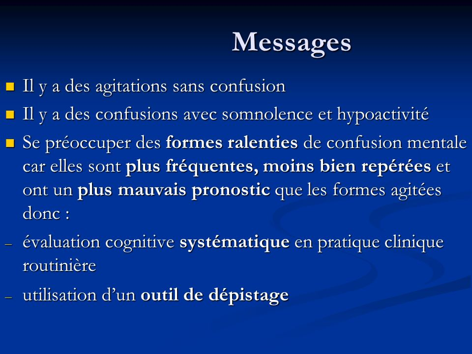 Messages Il y a des agitations sans confusion