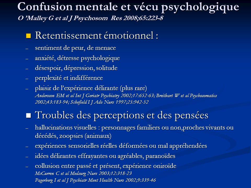 Confusion mentale et vécu psychologique O 'Malley G et al J Psychosom Res 2008;65:223-8