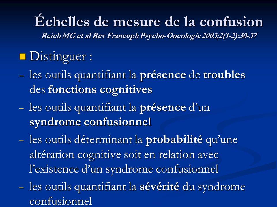 Échelles de mesure de la confusion Reich MG et al Rev Francoph Psycho-Oncologie 2003;2(1-2):30-37