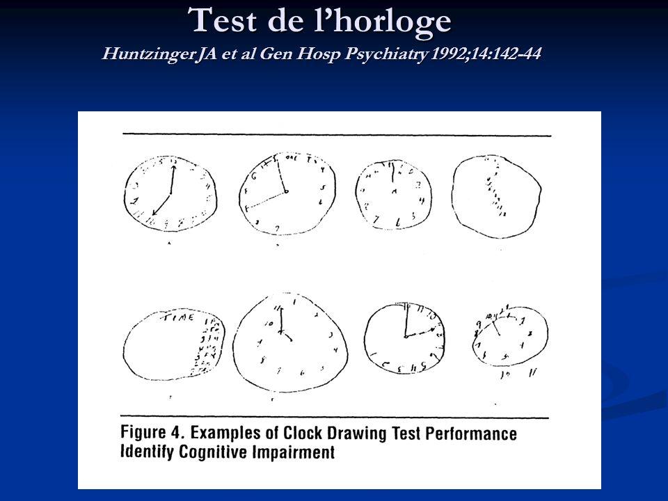 Test de l'horloge Huntzinger JA et al Gen Hosp Psychiatry 1992;14:142-44