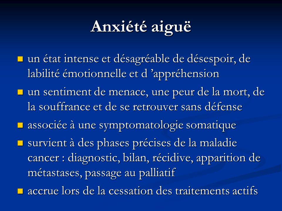 Anxiété aiguë un état intense et désagréable de désespoir, de labilité émotionnelle et d 'appréhension.