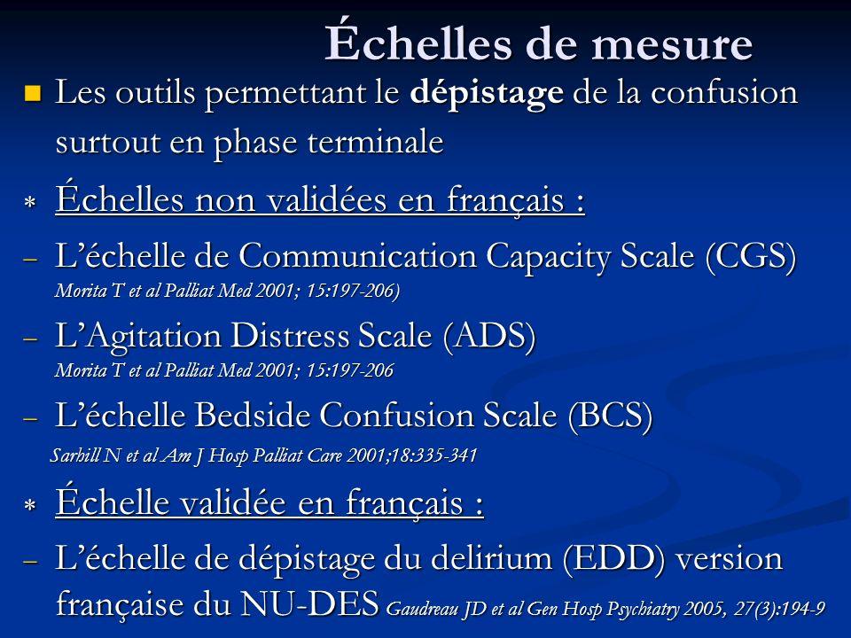 Échelles de mesure Échelles non validées en français :