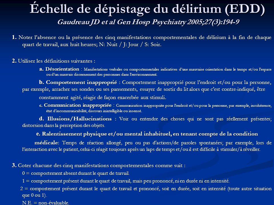 Échelle de dépistage du délirium (EDD) Gaudreau JD et al Gen Hosp Psychiatry 2005;27(3):194-9