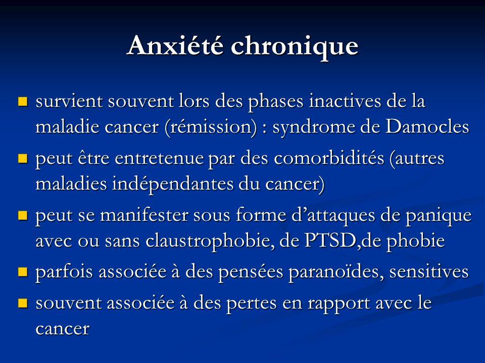Anxiété chronique survient souvent lors des phases inactives de la maladie cancer (rémission) : syndrome de Damocles.
