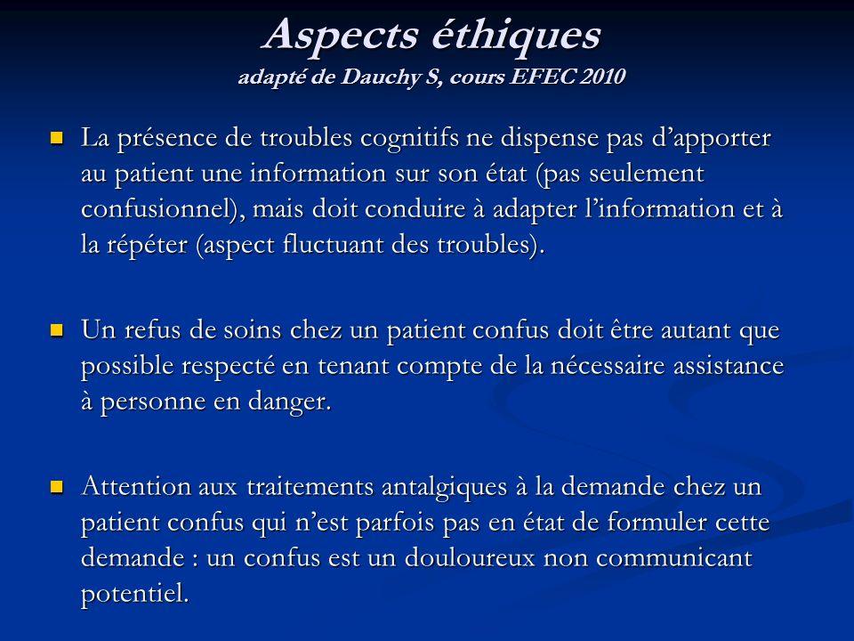 Aspects éthiques adapté de Dauchy S, cours EFEC 2010