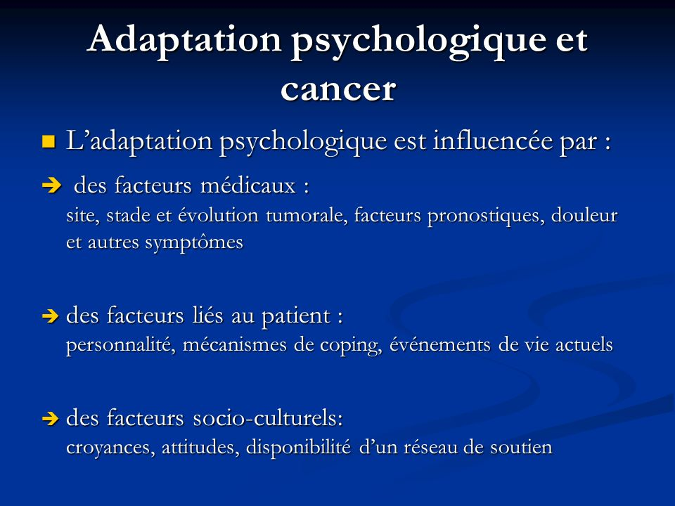 Adaptation psychologique et cancer