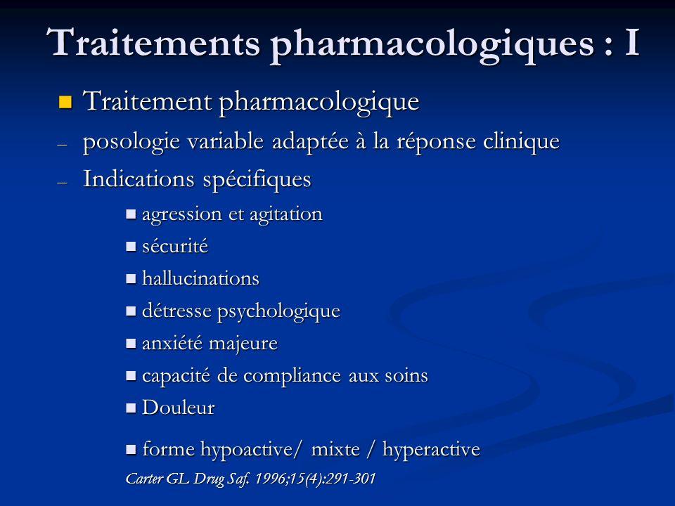 Traitements pharmacologiques : I