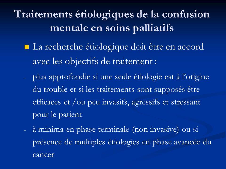 Traitements étiologiques de la confusion mentale en soins palliatifs