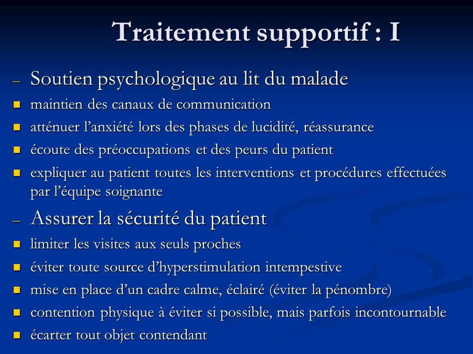 Traitement supportif : I