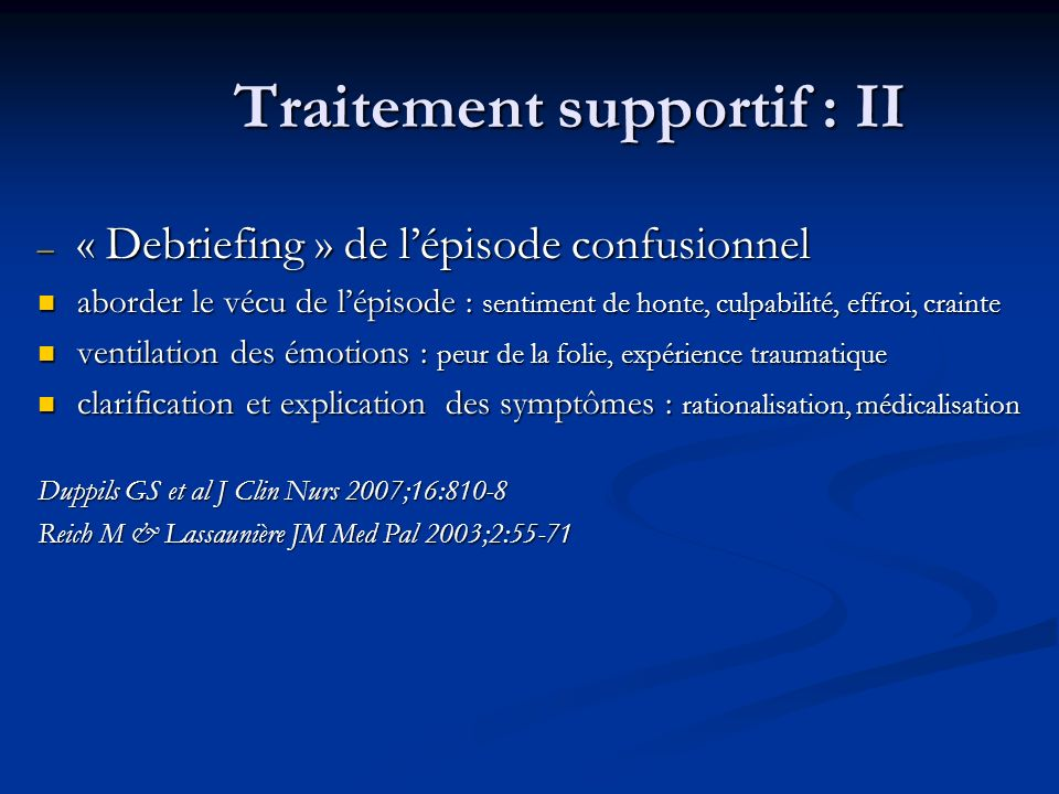 Traitement supportif : II