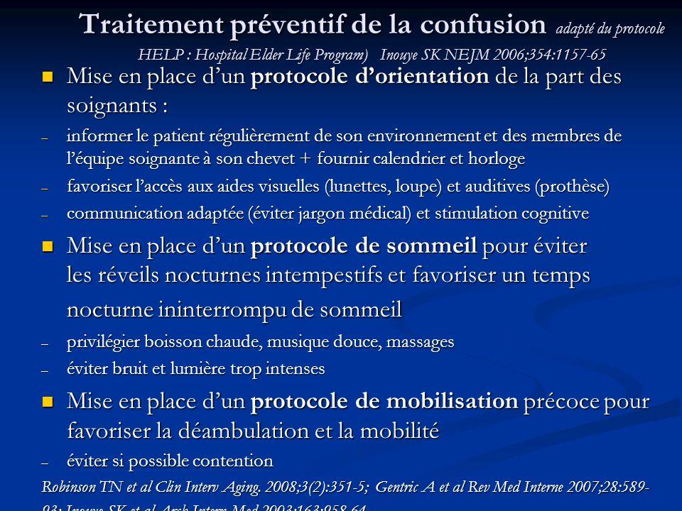 Traitement préventif de la confusion adapté du protocole HELP : Hospital Elder Life Program) Inouye SK NEJM 2006;354:1157-65