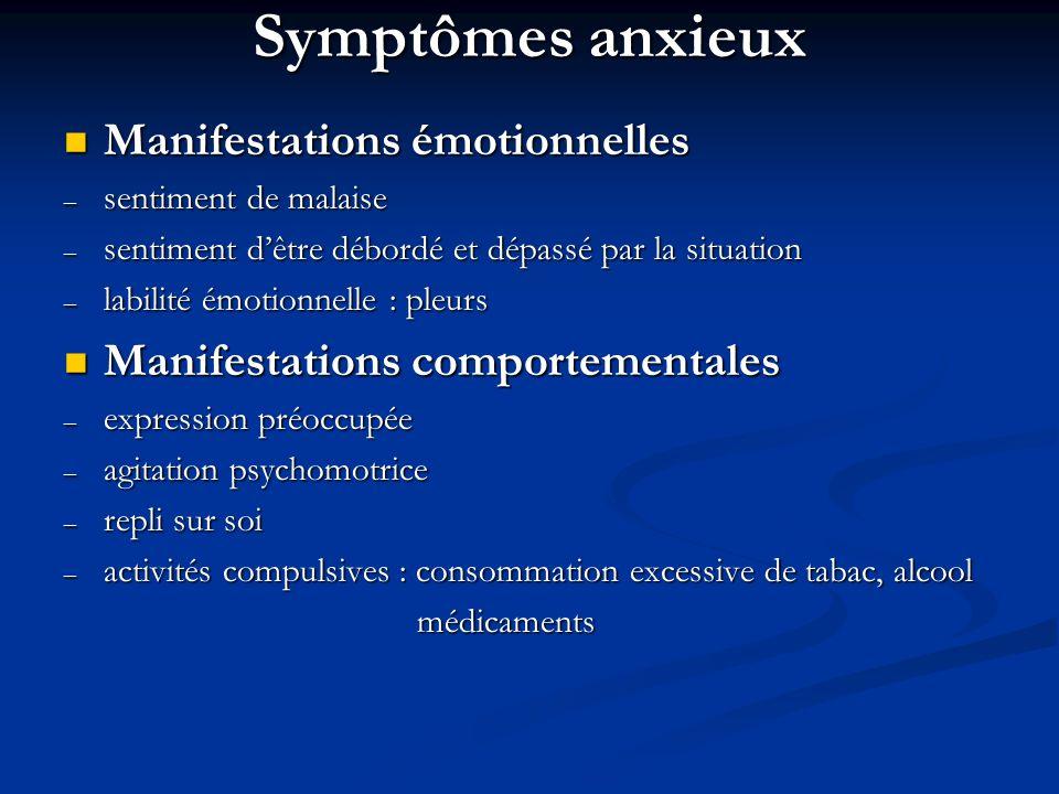 Symptômes anxieux Manifestations émotionnelles