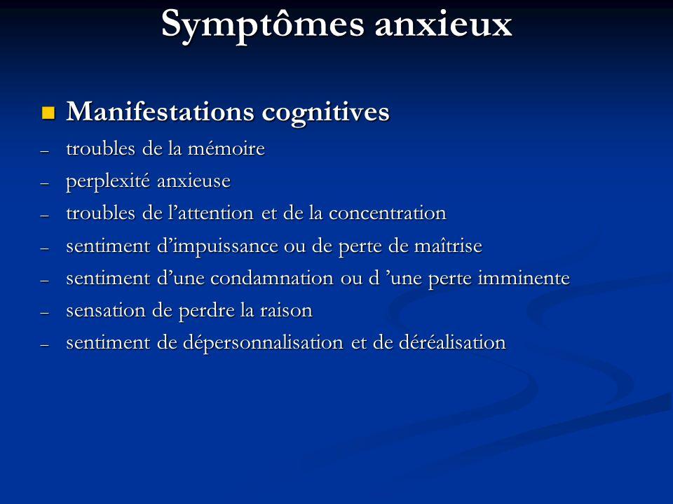 Symptômes anxieux Manifestations cognitives troubles de la mémoire
