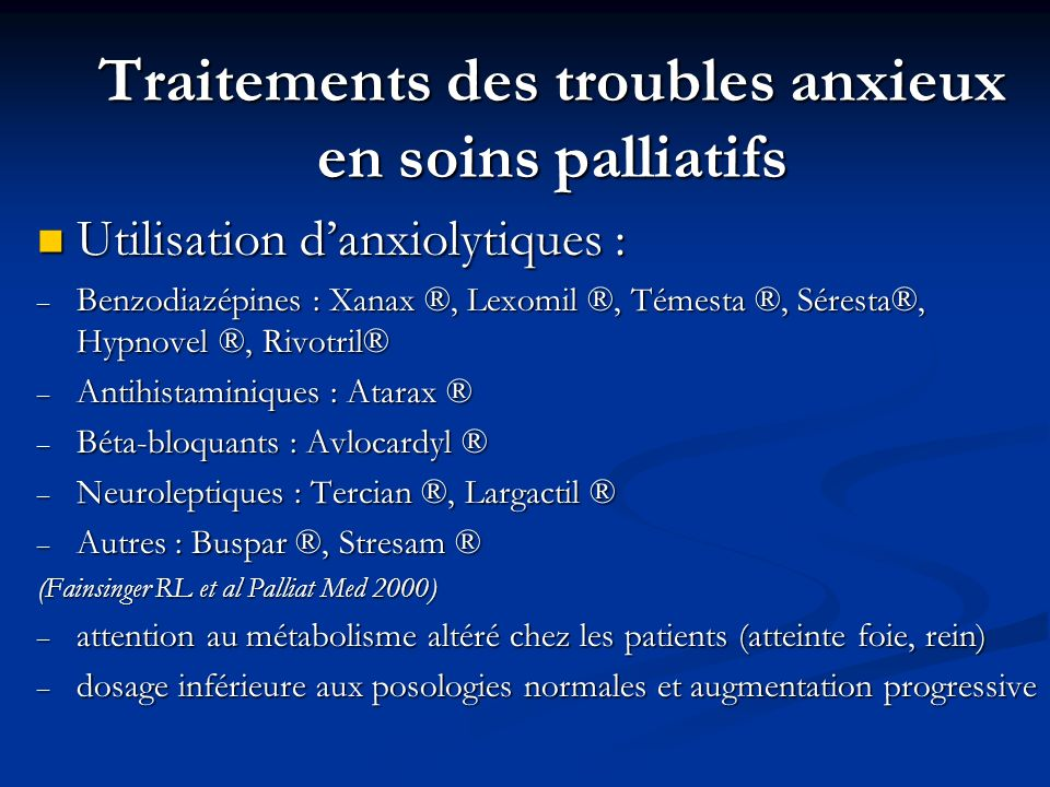 Traitements des troubles anxieux en soins palliatifs
