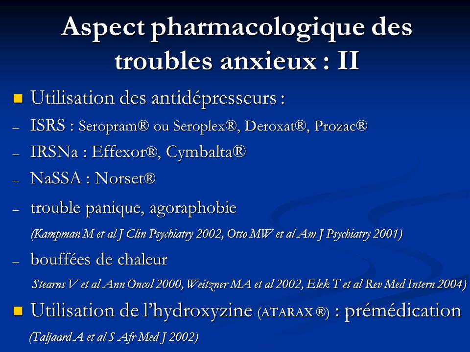 Aspect pharmacologique des troubles anxieux : II