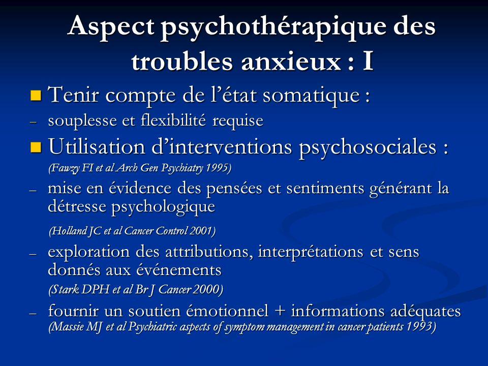 Aspect psychothérapique des troubles anxieux : I