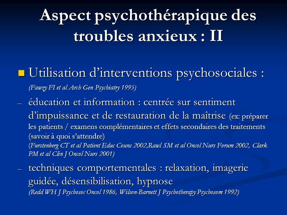 Aspect psychothérapique des troubles anxieux : II