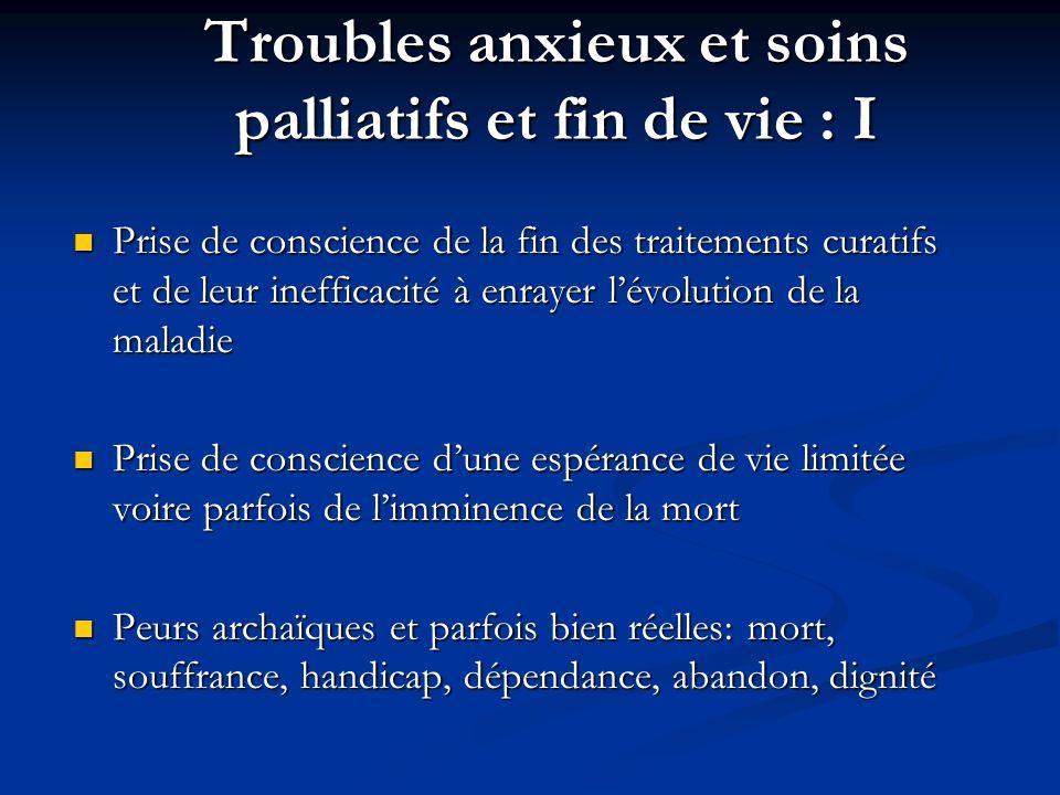 Troubles anxieux et soins palliatifs et fin de vie : I