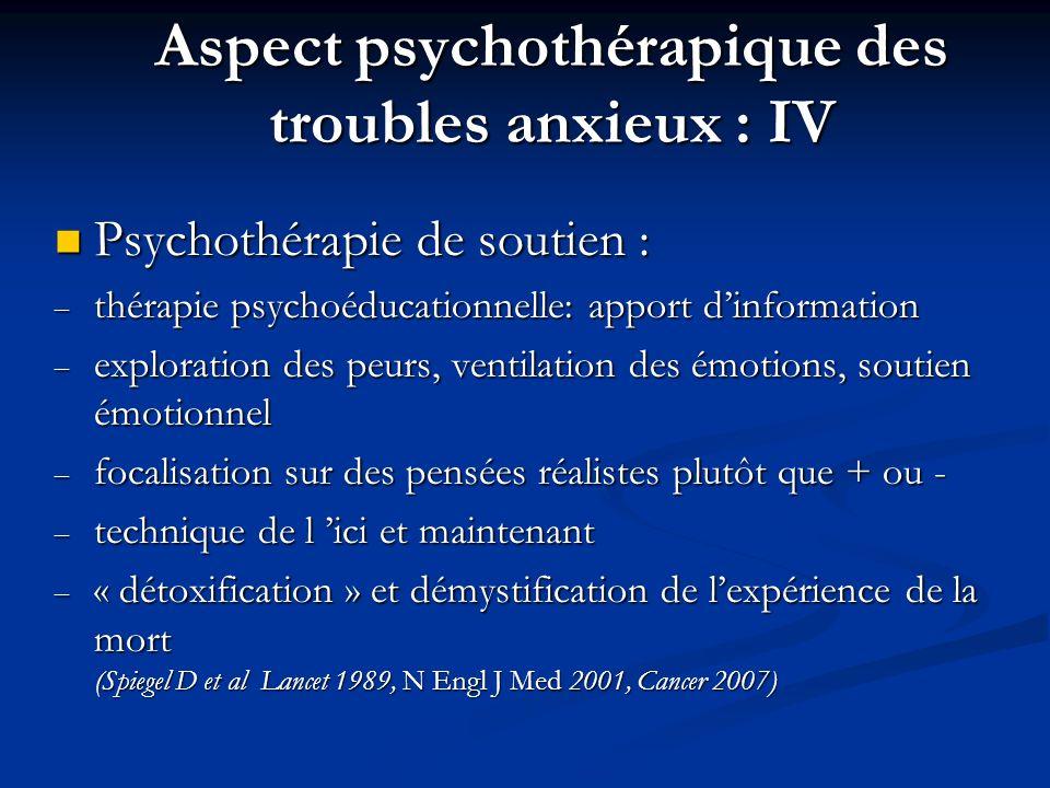 Aspect psychothérapique des troubles anxieux : IV