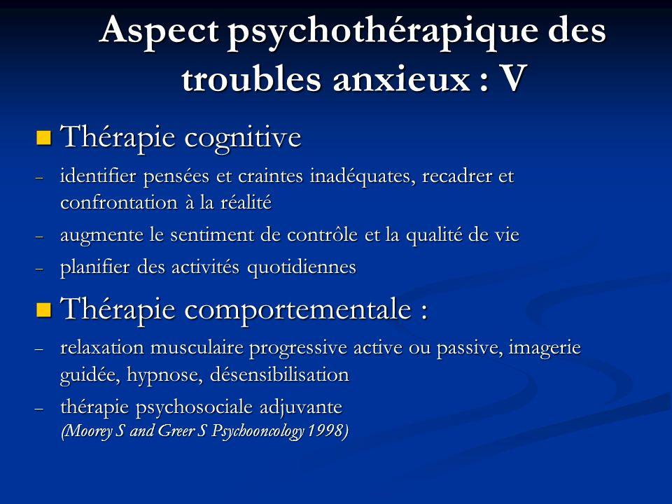 Aspect psychothérapique des troubles anxieux : V
