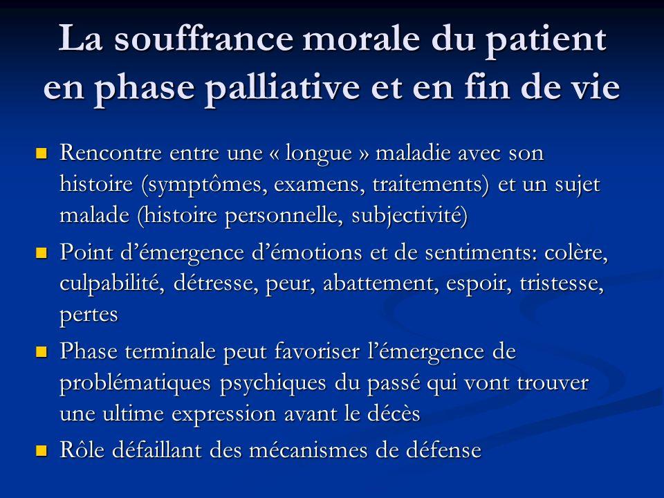La souffrance morale du patient en phase palliative et en fin de vie