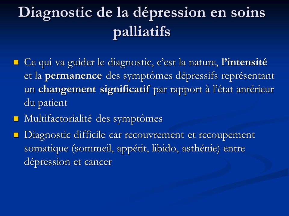 Diagnostic de la dépression en soins palliatifs