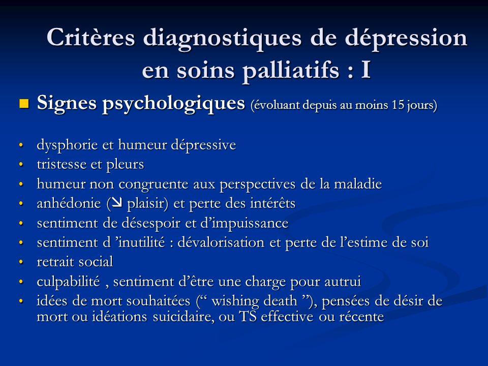 Critères diagnostiques de dépression en soins palliatifs : I