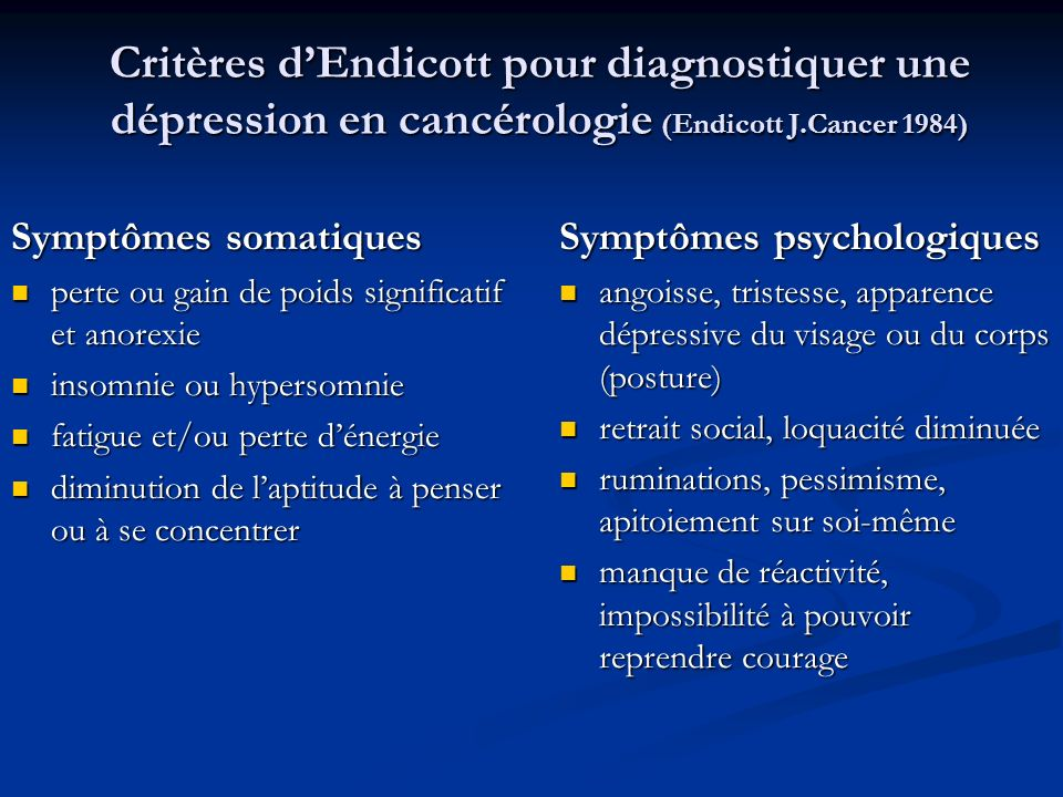 Critères d'Endicott pour diagnostiquer une dépression en cancérologie (Endicott J.Cancer 1984)