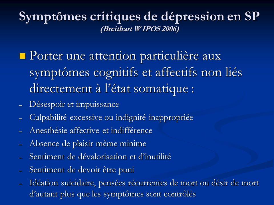 Symptômes critiques de dépression en SP (Breitbart W IPOS 2006)