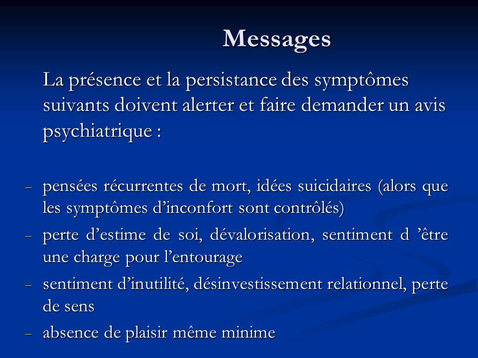 Messages La présence et la persistance des symptômes suivants doivent alerter et faire demander un avis psychiatrique :