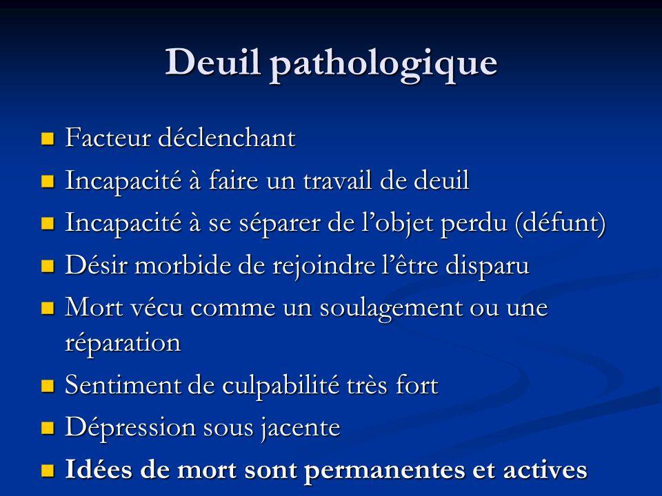 Deuil pathologique Facteur déclenchant