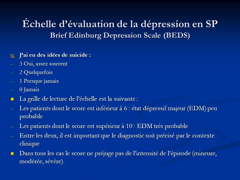 Échelle d'évaluation de la dépression en SP Brief Edinburg Depression Scale (BEDS)