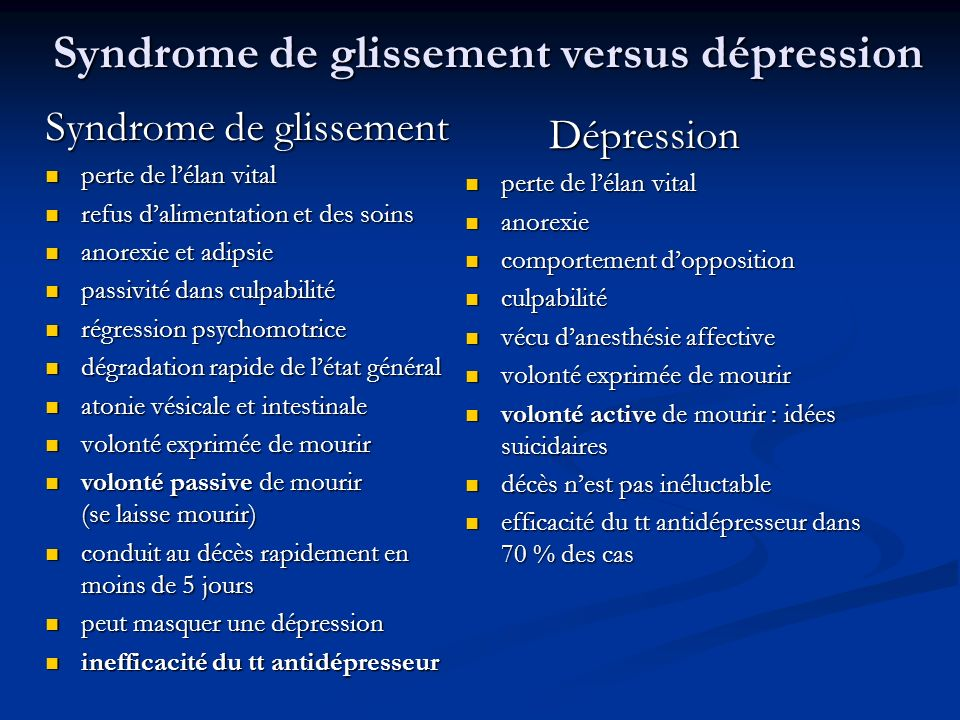 Syndrome de glissement versus dépression