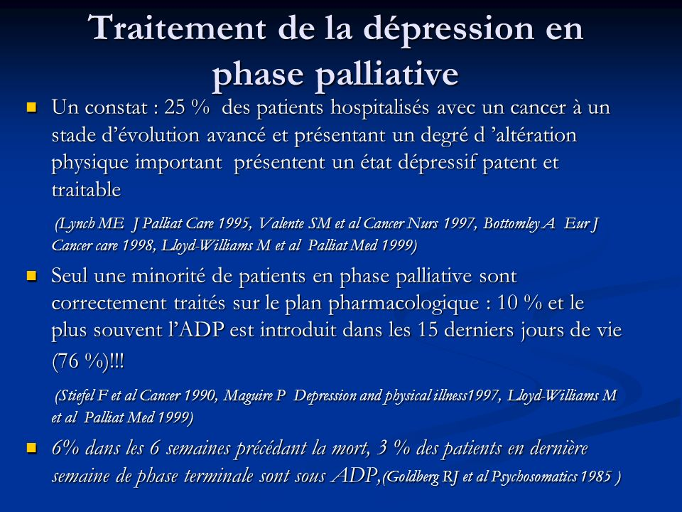 Traitement de la dépression en phase palliative