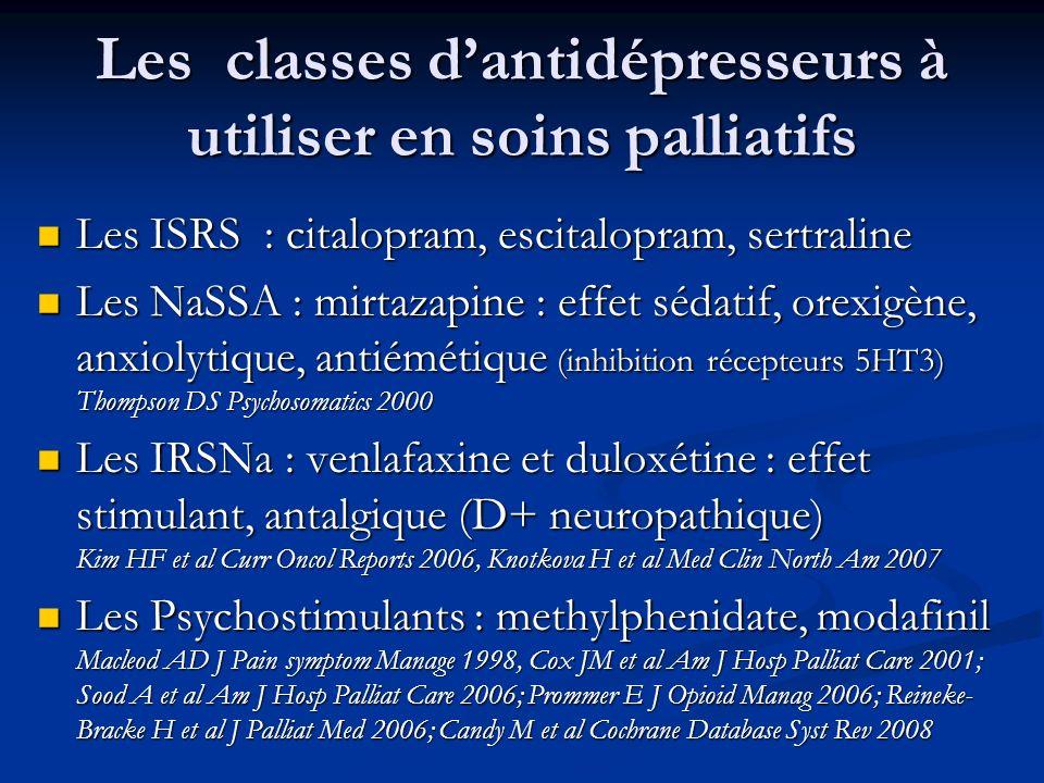 Les classes d'antidépresseurs à utiliser en soins palliatifs