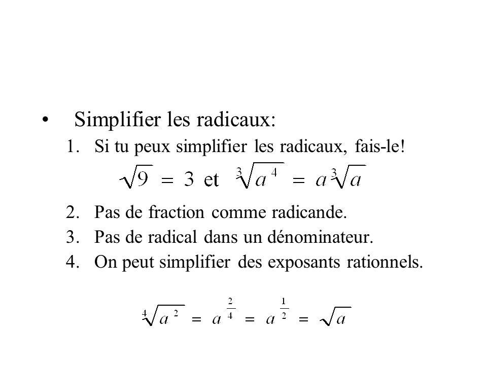 Simplifier les radicaux: