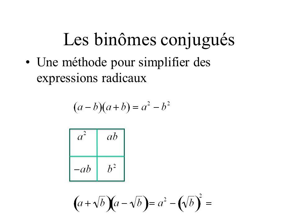 Les binômes conjugués Une méthode pour simplifier des expressions radicaux