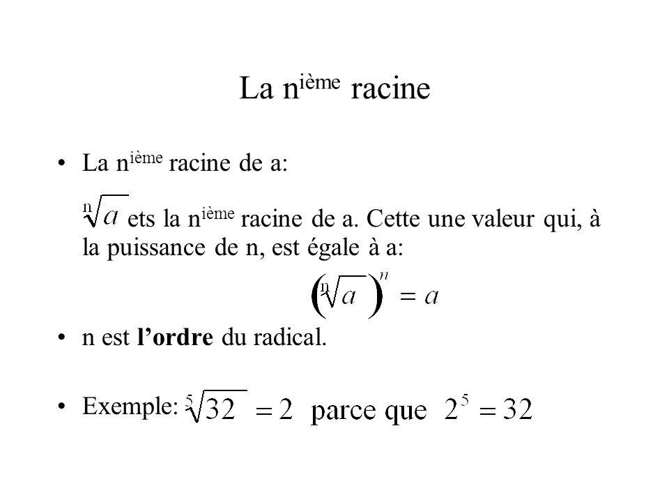 La nième racine La nième racine de a: ets la nième racine de a. Cette une valeur qui, à la puissance de n, est égale à a: