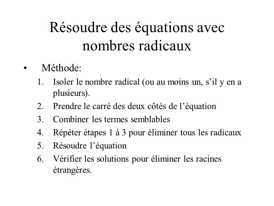 Résoudre des équations avec nombres radicaux