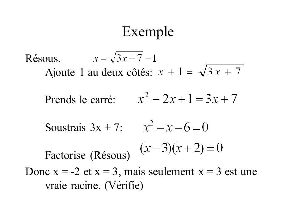 Exemple Résous. Ajoute 1 au deux côtés: Prends le carré: Soustrais 3x + 7: Factorise (Résous)