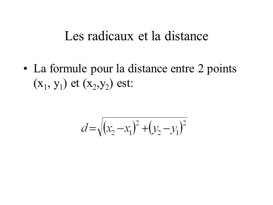 Les radicaux et la distance