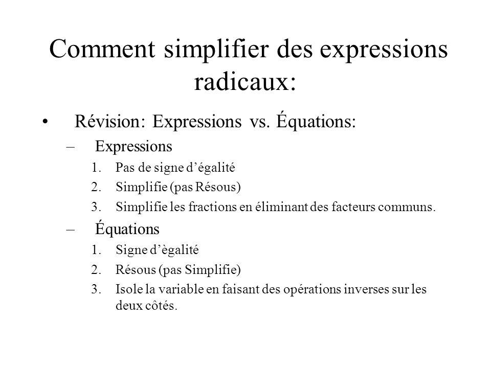 Comment simplifier des expressions radicaux: