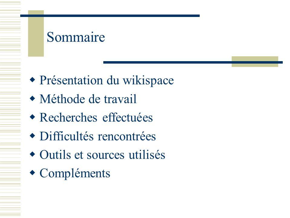 Sommaire Présentation du wikispace Méthode de travail