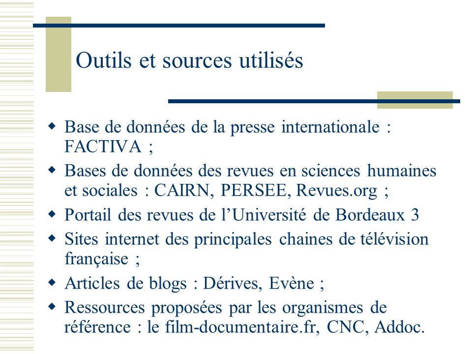 Outils et sources utilisés