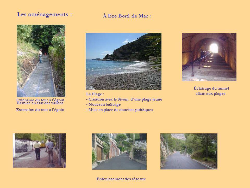 Les aménagements : À Eze Bord de Mer : Éclairage du tunnel