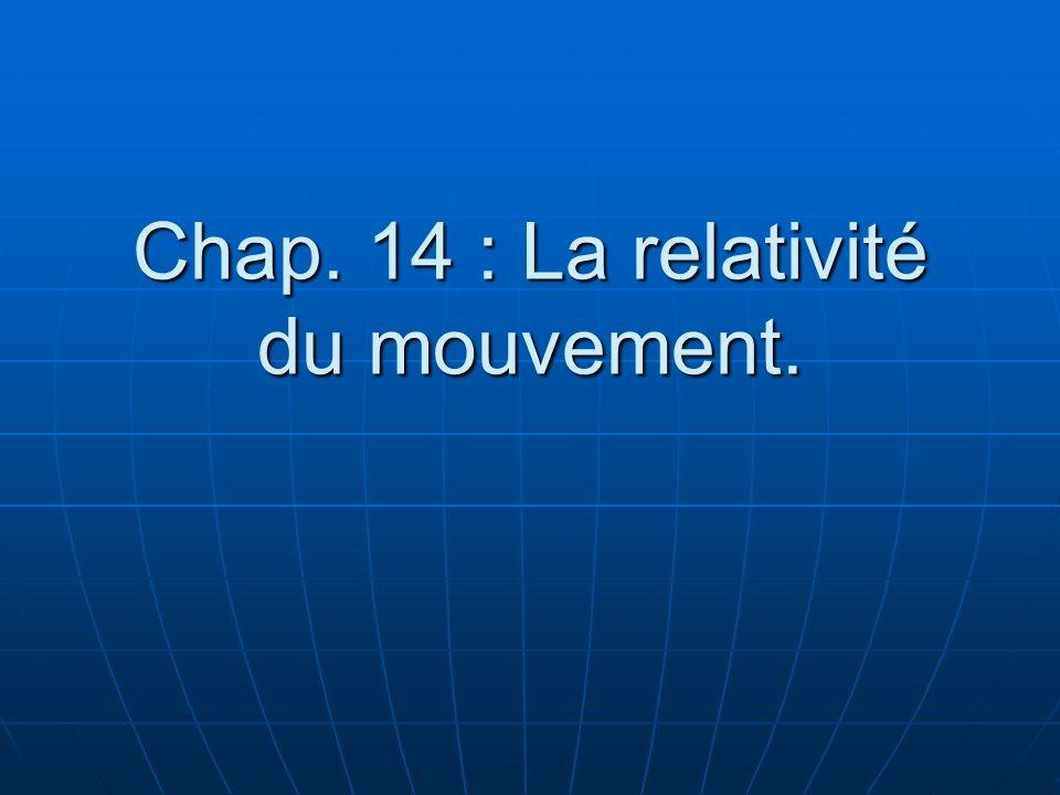 Chap. 14 : La relativité du mouvement.