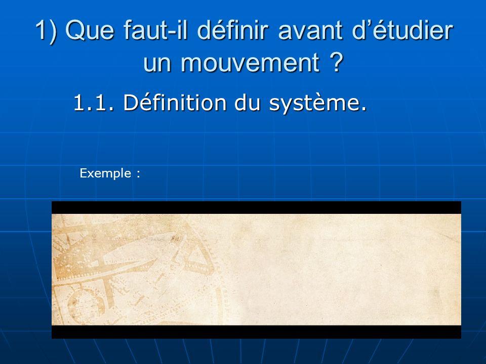 1) Que faut-il définir avant d'étudier un mouvement