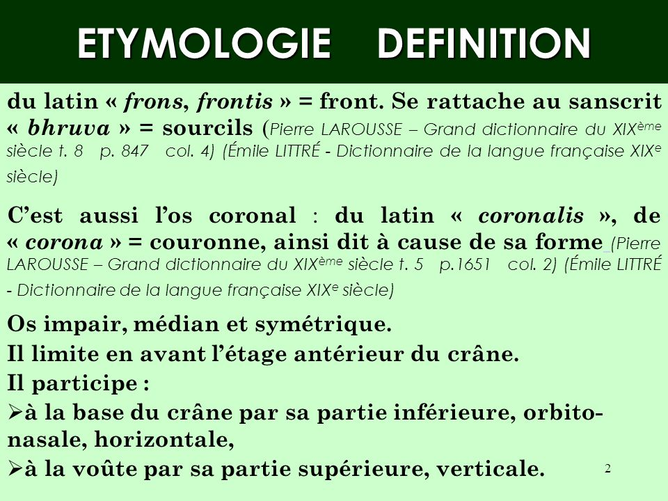 ETYMOLOGIE DEFINITION