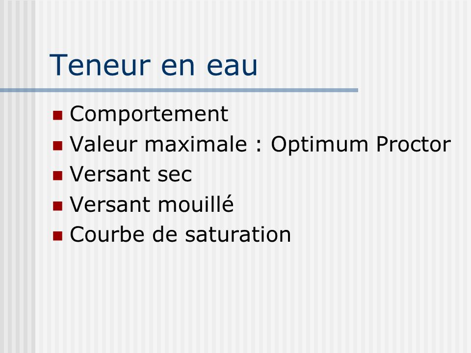 Teneur en eau Comportement Valeur maximale : Optimum Proctor